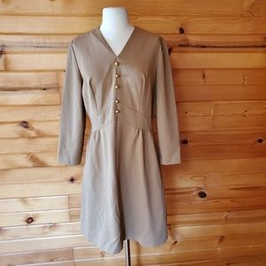 1970s Illegible tag Tan Polyester Dress